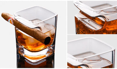Whisky & Cigar Single Hand Crafted Crystal Drinking Glass - GadgetCart