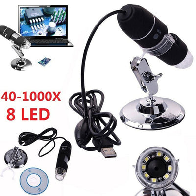 Digital Microscope 40 to 1000 X 2MP USB Imagery Science Gadget - GadgetCart