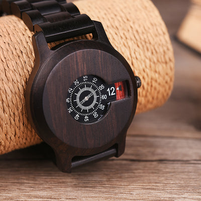 Stunning Rotating Dial Wood Designer Watch by BOBO BIRD