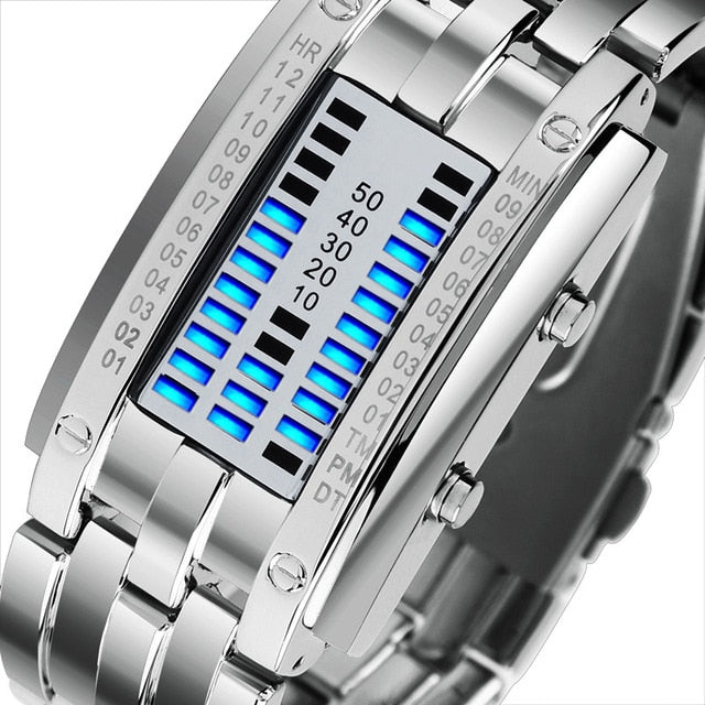 Awesome LED Watch with Blue Binary Code Style Time Display - GadgetCart