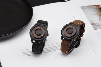 Woodgrain Orbit Watch Rotating Magnetic Ball Fashion Timepiece by Eutour - GadgetCart