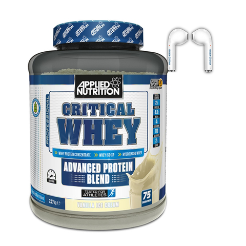 Applied Nutrition Critical Whey 2.27kg + Free Wireless Earphones - gymstop