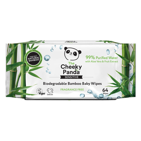 The Cheeky Panda Biodegradable Bamboo Baby Wipes 64s