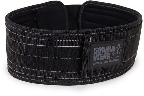 Gorilla Wear 4 Inch Nylon Belt - Black - gymstop