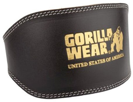 Gorilla Wear Full Leather Padded Belt - Black - gymstop