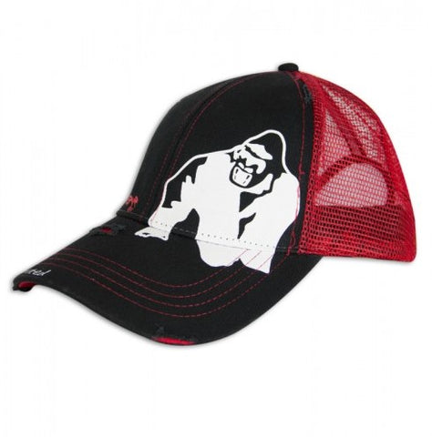 Gorilla Wear Logo Trucker Cap - Black/Red - gymstop