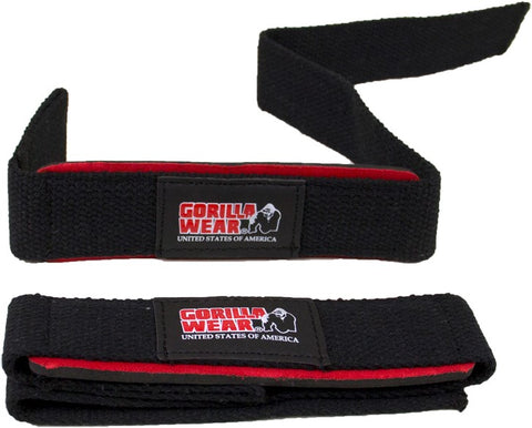 Gorilla Wear Padded Lifting Straps - Black/Red - gymstop