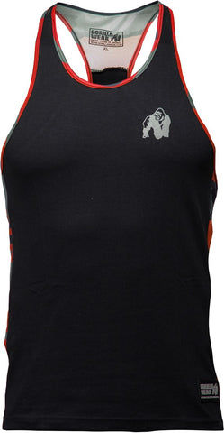 Gorilla Wear Sacramento Camo Mesh Tank Top - Black/Neon Red - gymstop