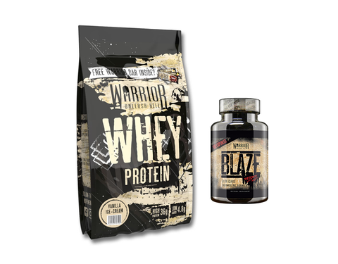 Warrior Whey 1kg + Free Warrior Blaze 90 Caps
