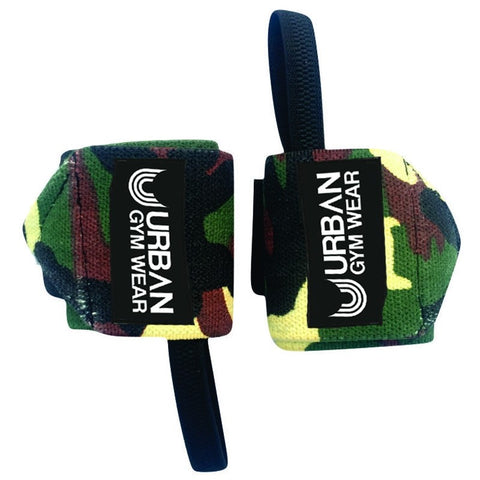 Urban Gym Wear Wrist Wraps - Woodland Camo - gymstop