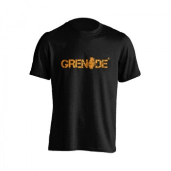 Grenade Black T-Shirt (Orange Logo) - gymstop