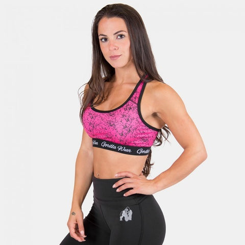 Gorilla Wear Hanna Sports Bra - Black/Pink - gymstop