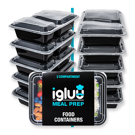 Igluu 2 Compartment Meal Prep Food Containers with Airtight Lids