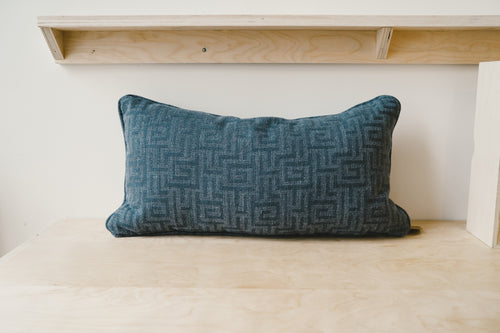 Blue Greek Lumbar Pillow