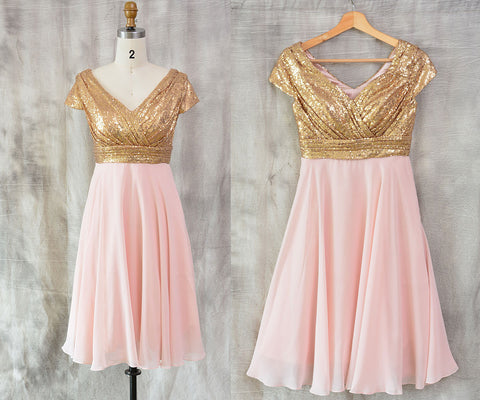 Gold Sequin Bridesmaid Dress And Pearl Pink Chiffon Skirt, Short Sequin maid of honour dress ,Knee Length Prom Dresses ,V Neck Wedding Dress