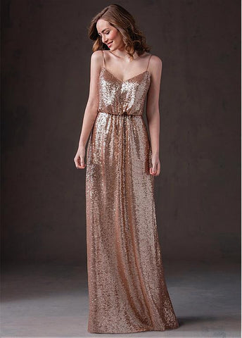 Charming Sequin Spaghetti Straps A-line Bridesmaid Dress