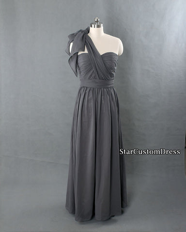 Chiffon Convertible Bridesmaid Dress Long Dark Grey Long Prom Dress