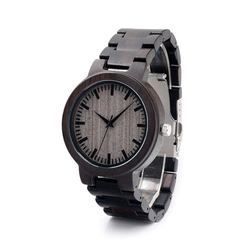 All Wooden Watch - Ebony Black Li - Leocarpentry