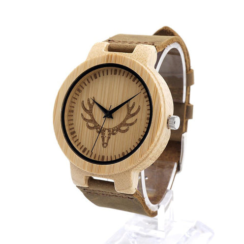 Bamboo Watches With Leather - Zhao - Leocarpentry