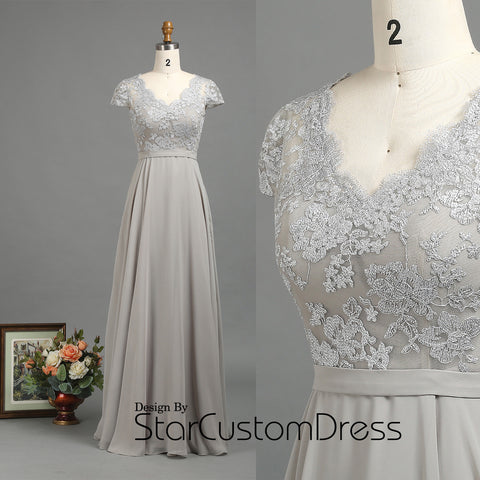 2017 Light Grey Bridesmaid Dresses, Lace Cap Sleeves Wedding Dress, Scalloped V Neck Prom dress, V Back Silver Women Dress