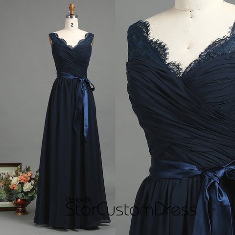 2017 Dark Slate Blue Bridesmaid Dress, lace neckline wedding dress, Navy Blue Prom Dress Witch Satin belt, A line Formal Dress