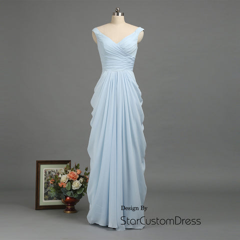 Dusty Blue Bridesmaid Dress ,Long Chiffon Prom Dress 2017 ,V-Neck Elegant Fall