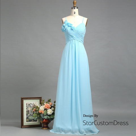 baby blue bridesmaid dress ,Long Spaghetti Strap Formal dress with Hand-worked Flower ,Elegant A-line Chiffon Prom Dress