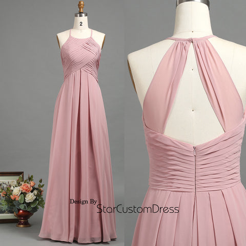 2017 Dusty Rose Bridesmaid Dress, Ruched Bodice Wedding Dress, A Line Maxi Dress Floor Length, High Neck Evening Gown