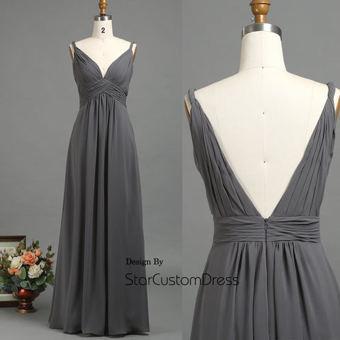 2017 Charcoal Chiffon Bridesmaid Dress, deep v neck prom dresses, v back wedding dress, long formal dress, gray chiffon dress