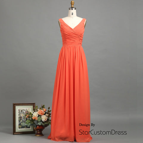 Coral Bridesmaid Dress, Long V-Neck Chiffon Dress dresses, Maxi Prom Dress, Wedding Dress, formal dress