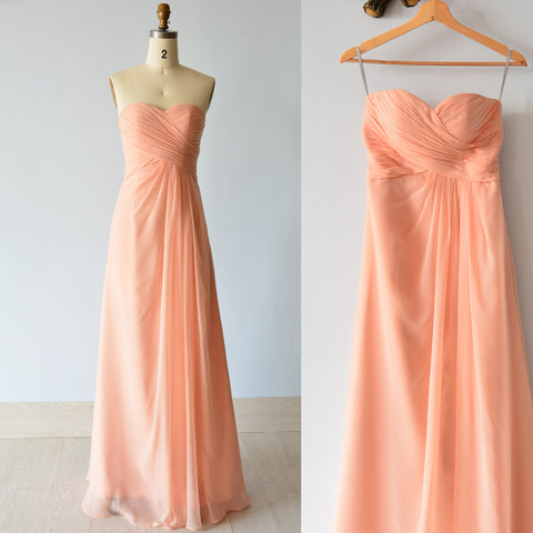 Custom Bridesmaid Dress Long, Draping Pleats Peach Chiffon Wedding Party Dress, Sweetheart Neckline
