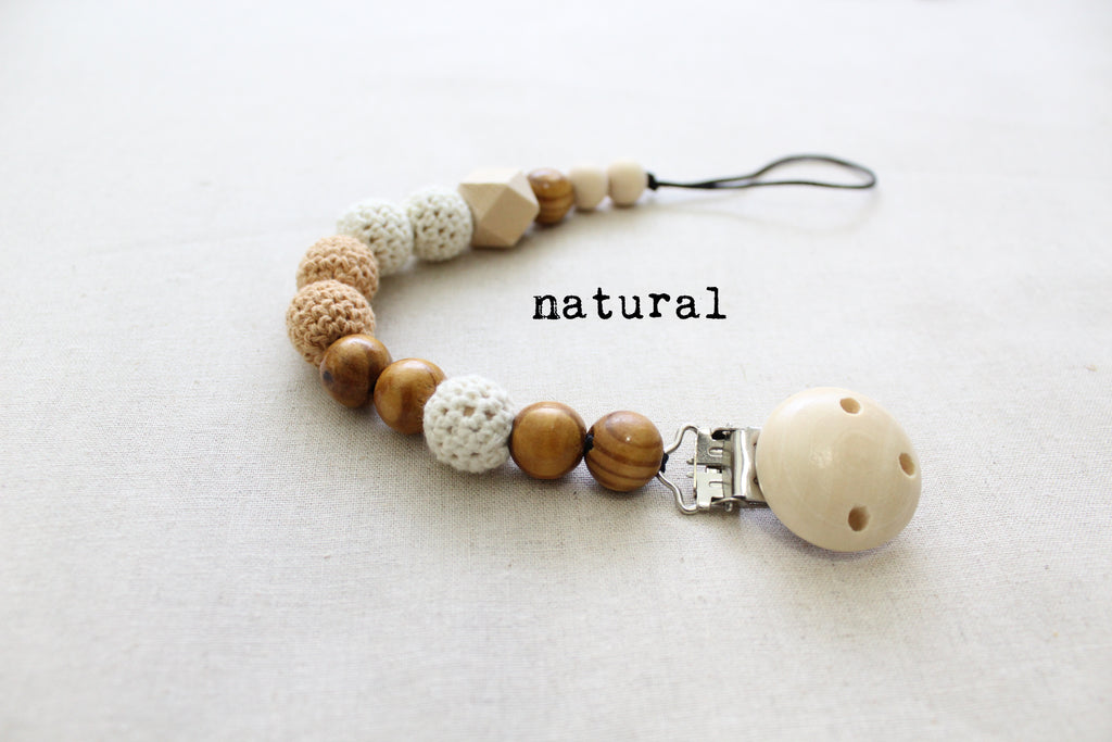 beaded wood pacifier clip in natural color