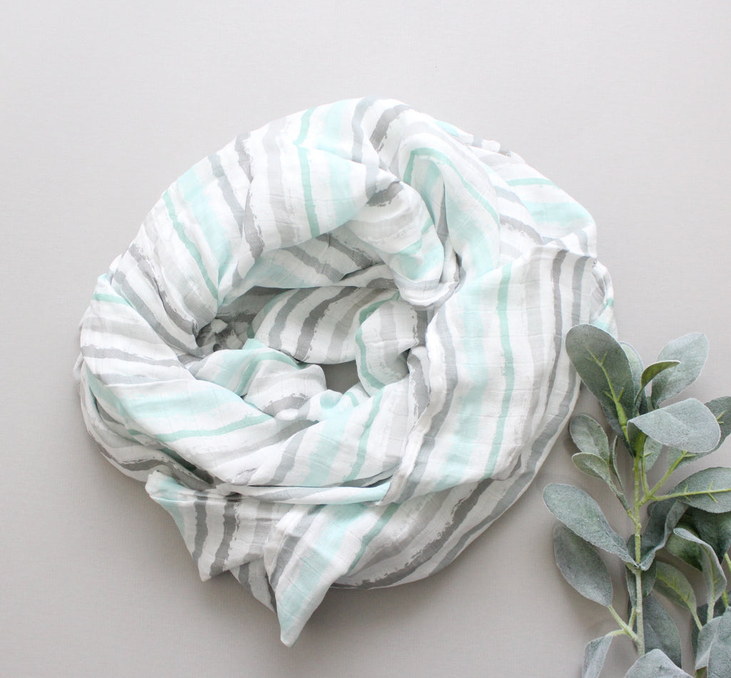 Watercolor Sky Striped Swaddle