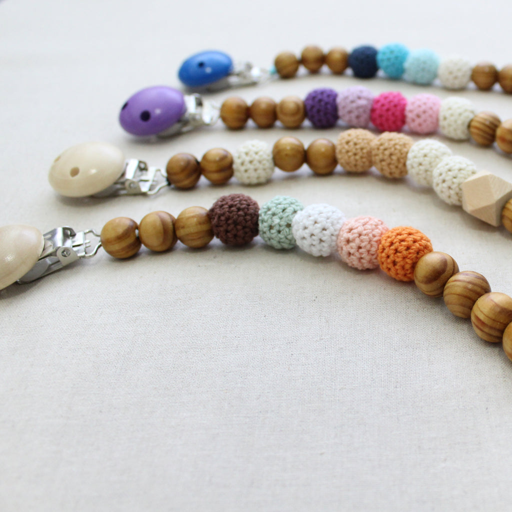 wood beaded pacifier clips