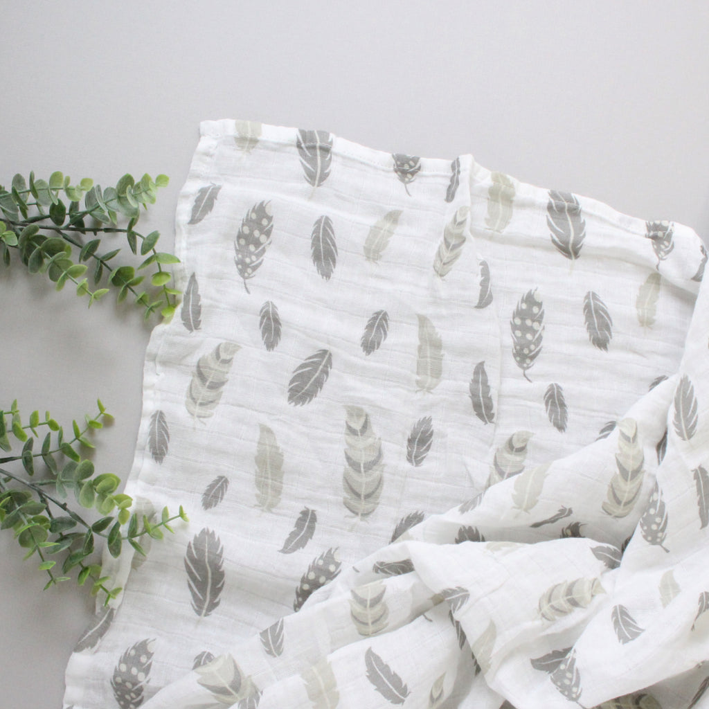 Gray Feather Swaddle