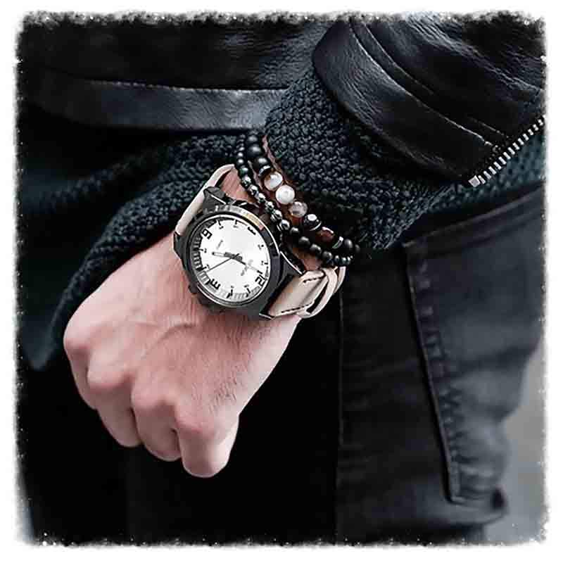 "Bracelet Onyx "" Protection & Guide "" Homme"