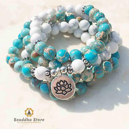 Mala 108 Howlite Beads and Blue Imperial Jasper