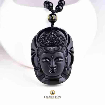 Obsidian Black Stone Buddha Necklace Necklace Store