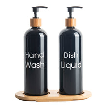 500ml Plastic Pump Bottles with Bamboo Tray (Black or White)