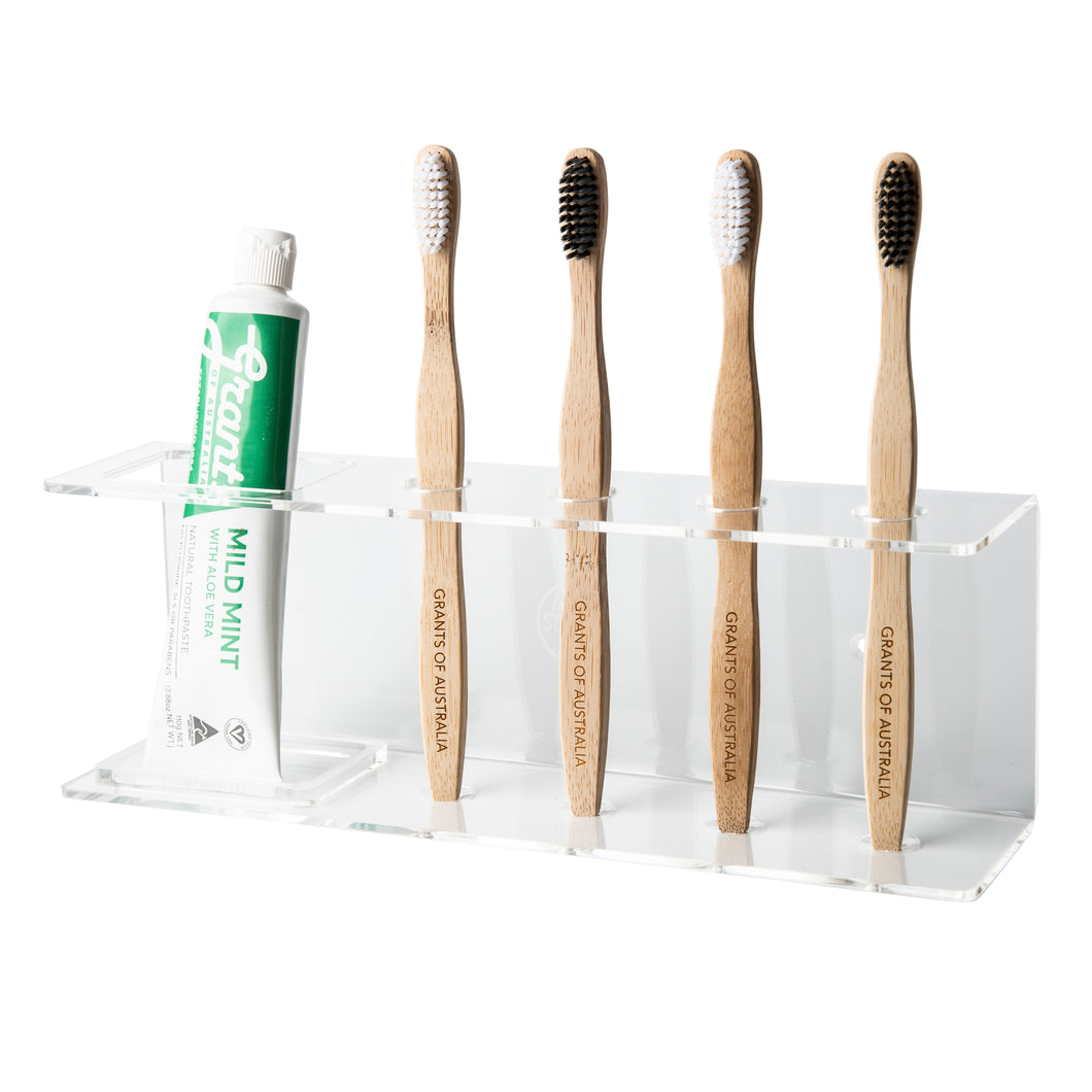 Wall mounted acrylic toothbrush holder