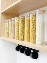 Tall Bamboo Glass Storage Jar