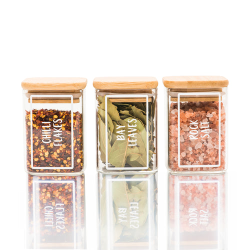 Square Bamboo Glass Jars 200ml - Little Label Co
