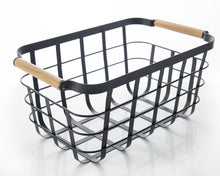 Black Storage Basket with Bamboo Handle