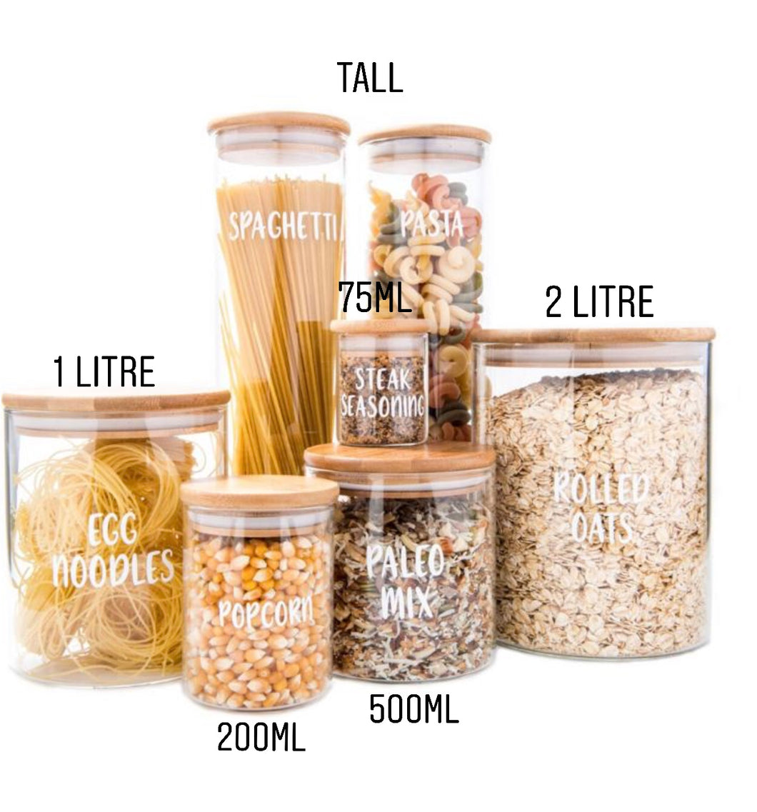 Tall Bamboo Glass Storage Jar Little Label Co