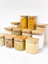 Square Glass/Bamboo Storage Jar 750ml