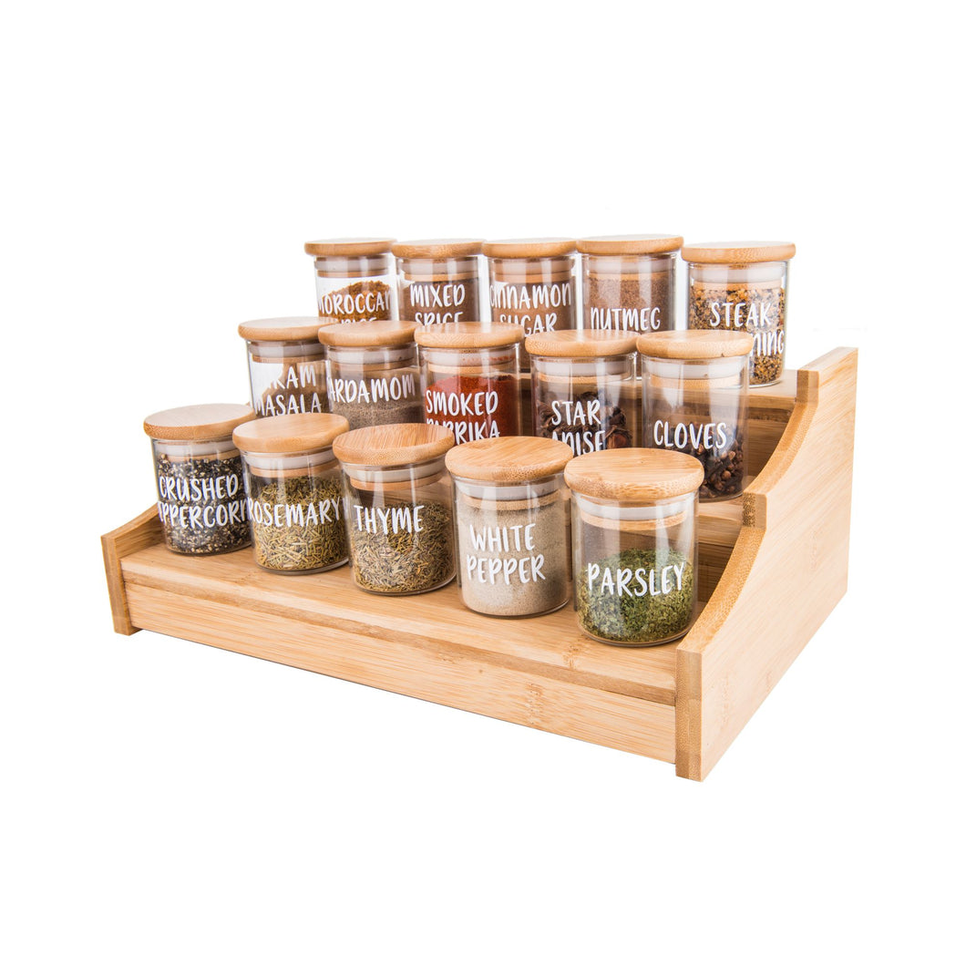 Bamboo Shelf with 15 x 75ml herb/spice jars - Little Label Co