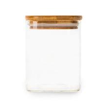 Square Glass/Bamboo Storage Jar 500ml