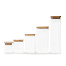 Square Glass/Bamboo Storage Jar 1.25L