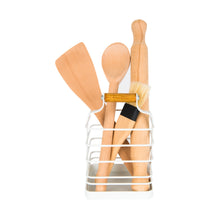 Wire & Bamboo Utensil Holder