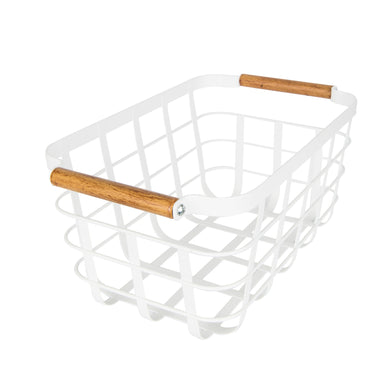 White Storage Basket with Bamboo Handle